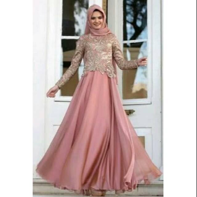 Jual Gamis Maxi Dress Gaun Pesta Muslim Brokat Satin Mewah Jakarta Pusat Putrashoppeng Tokopedia