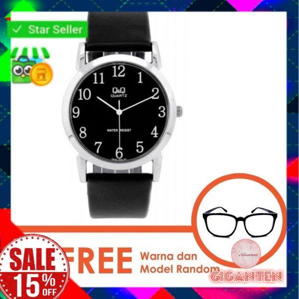 Jam Tangan Pria Cowok Q&Q Ori Hitam Q662J305Y free kacamata Baru