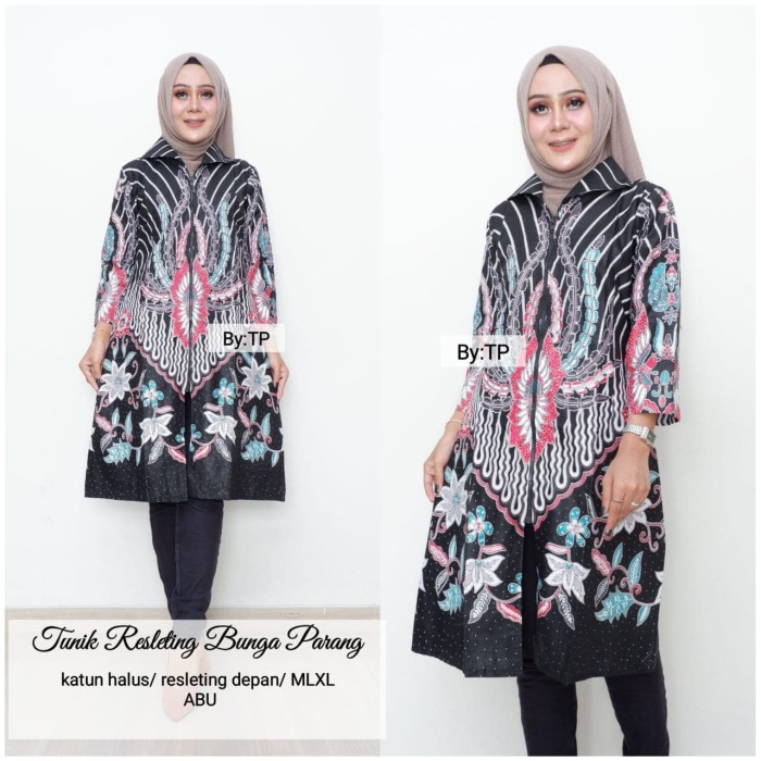 Jual Dress Atasan Batik Tunik Bunga Parang Resleting Depan Kota Surakarta Upnormally Fashion Tokopedia
