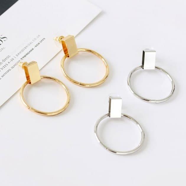 Foto Produk anting bulat simple simple circle earrings jan162 - silver dari Oila