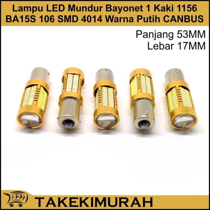 Jual Lampu Led Mundur Bayonet 1 Kaki 1156 Ba15s 106 Smd 4014 Putih Canbus