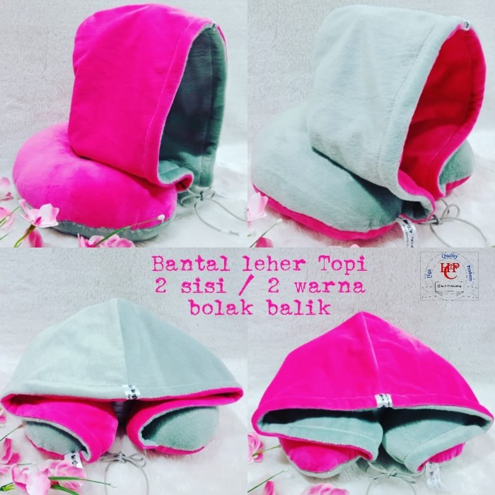 Bantal leher topi Hoodie travel pillow U shape abu abu pink fanta