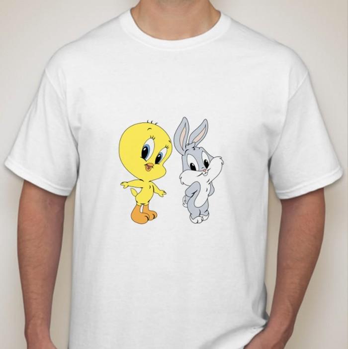 Jual Kaos Sablon Printing Tweety And Bugs Bunny Dws Murah Unik