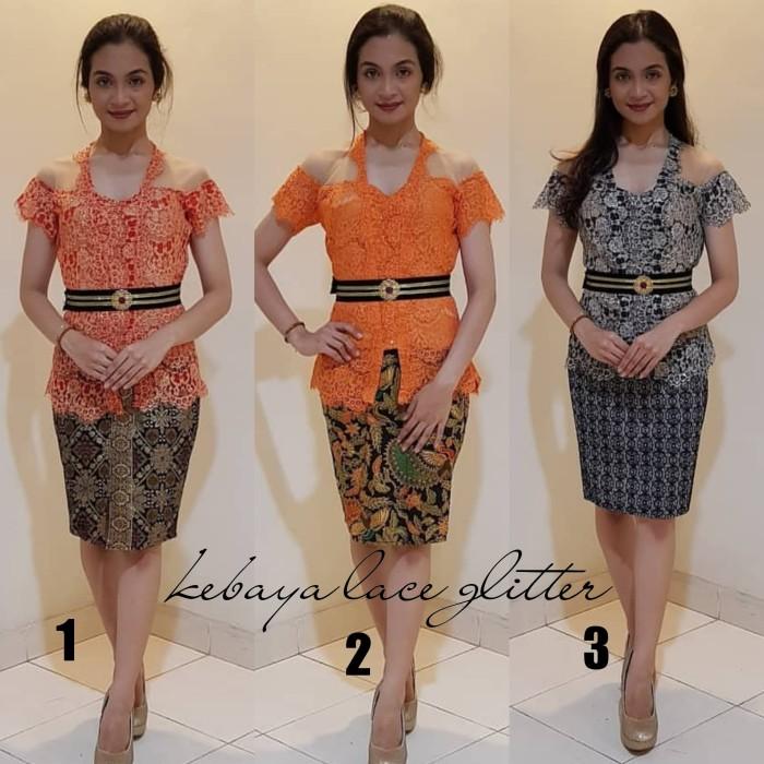 Jual Baju Kebaya Setelan Brokat Lace Glitter Dan Rok Katun Batik Pendek Keb Kota Denpasar Cherrybutik Tokopedia
