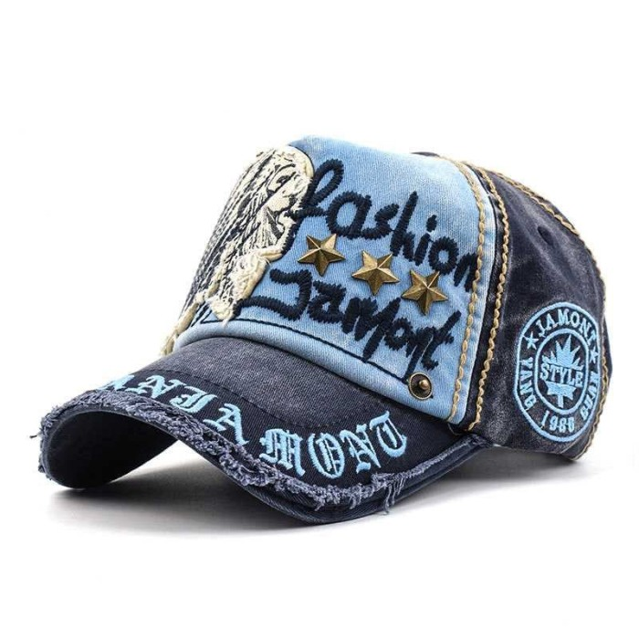 Topi Snapback Pria Wanita Sobek Vintage Punk Jeans Gembel Jamont Mode - Biru 36f78dfb3c
