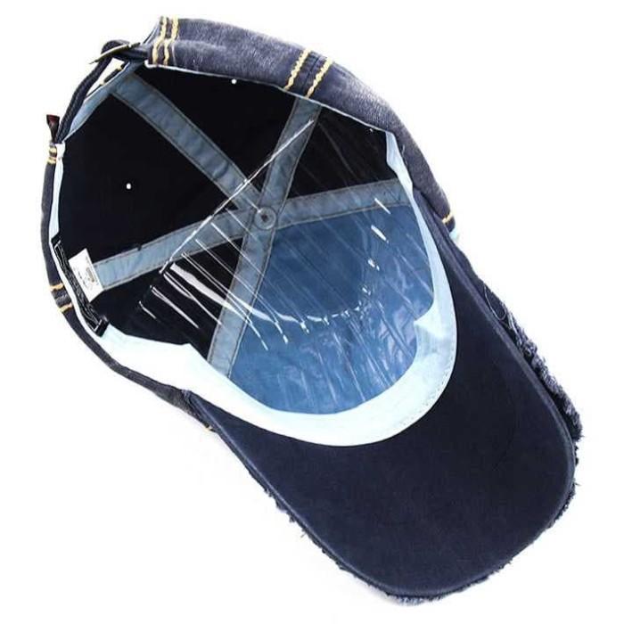 Topi Snapback Pria Wanita Sobek Vintage Punk Jeans Gembel Jamont Mode 8244596421