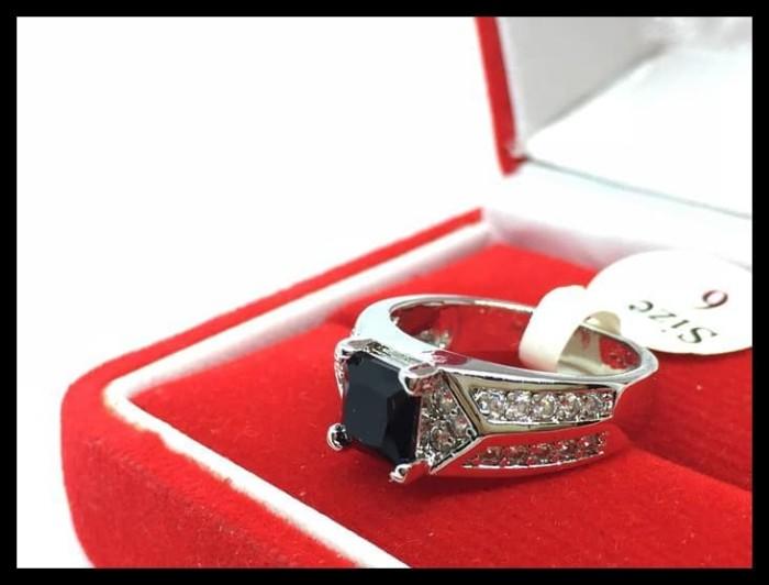 Jual Hot Sale Cincin Pria Cowok Lapis Emas Putih Batu Hitam Kotak