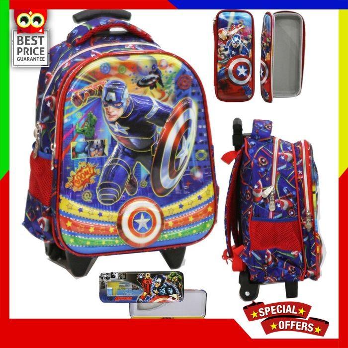 Tas Anak Sekolah TK Trolley Avengers Captain America 5D Timbul Import