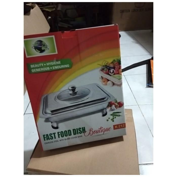 Fast Food Dish / Wadah Prasmanan stainless tutup full kaca