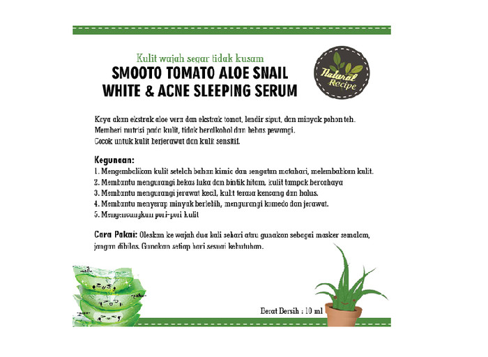 SMOOTO Tomato Aloe Snail White & Acne Sleep Serum 10 ML