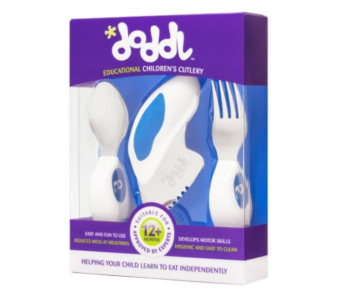 Foto Produk Doddl Baby Cutlery - Spoon, Fork, and Knife Set - Blueberry Blue dari Tidy Tot Indonesia