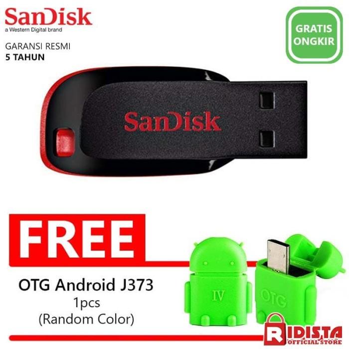 harga Flashdisk sandisk 16gb blade (w240)+bonus otg usb micro android (j373)