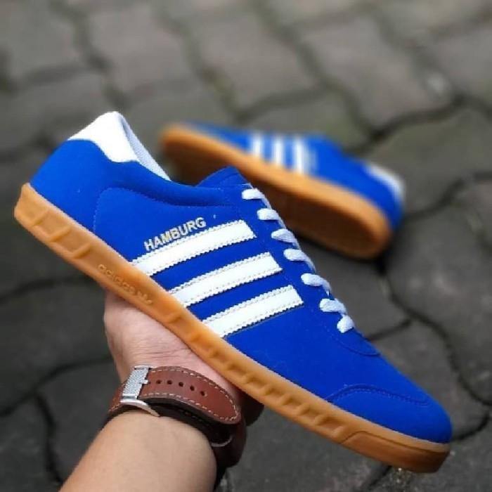 Jual Sepatu Sneakers Import Adidas Hamburg Man Biru List Putih