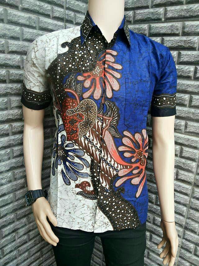 Jual Baju Seragam Batik Kerja Kantoran Kemeja Batik Lengan Pendek NRA4 -  Kota Pekalongan - Batik Putra Ilyas | Tokopedia