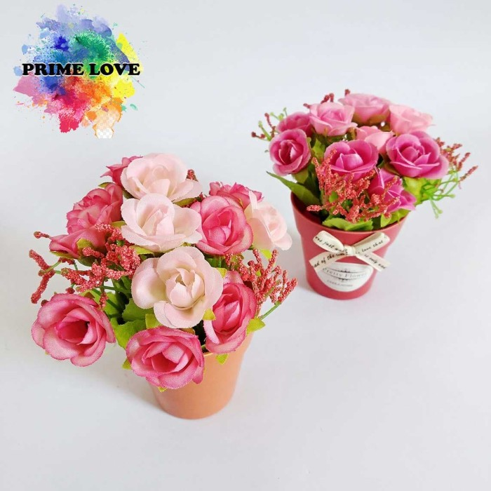 Buket Bunga Mawar Plastik Artificial Bunga Palsu Tanaman Tiruan - VB18 -  Merah Muda 935e8d84ad
