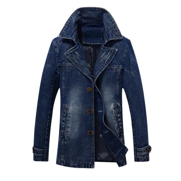 7da91cdb43 Murah AFS JEEP Jaket Jeans Blazer Pria Turn-Down Kerah Fashion Denim - Biru
