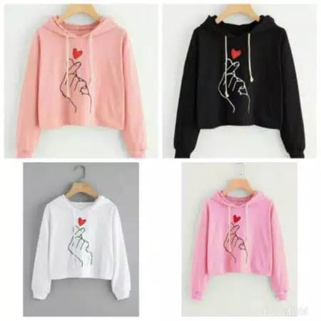 sweater wanita / saranghae / hoodie / crop / sweater murah -