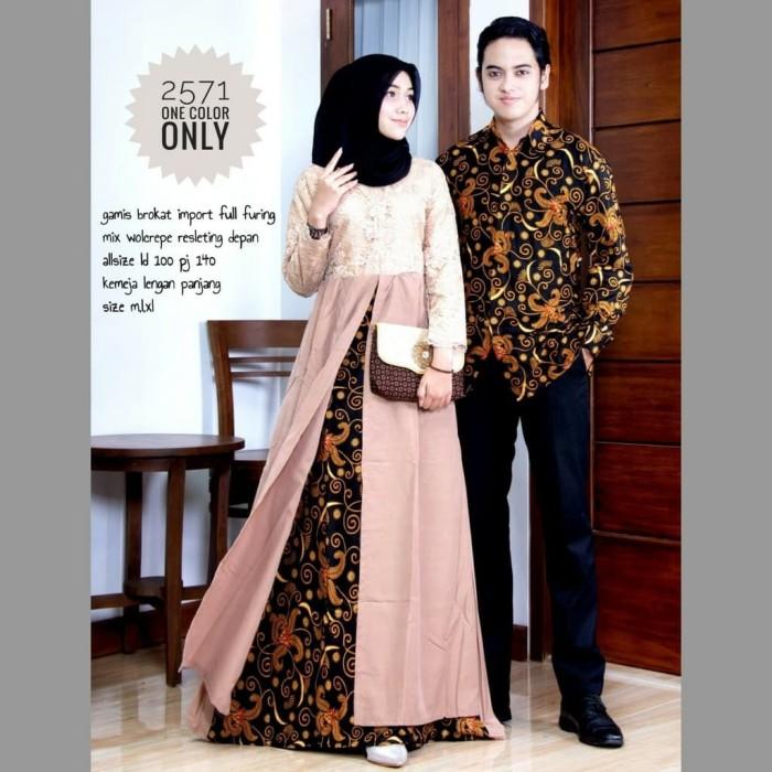 Jual Batik Couple Gamis Brokat Lengan Panjang 2571 Kota Surakarta Andin Toko Tokopedia
