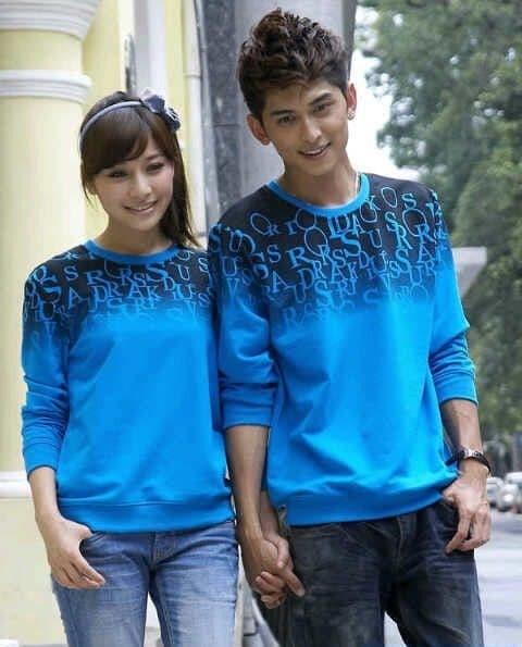 Sweater Couple / Sweater Pasangan / Baju Couple / Baju Pasangan Abjad - Biru