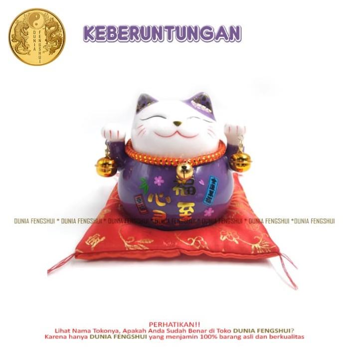 Maneki Neko Purple | Kucing Keberuntungan | Kucing Pemanggil Uang