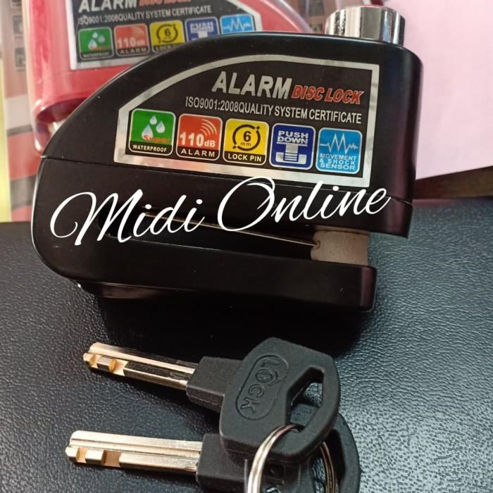 Gembok Alarm Disc Lock Cakram Motor - Anti Maling Gembok - Hitam