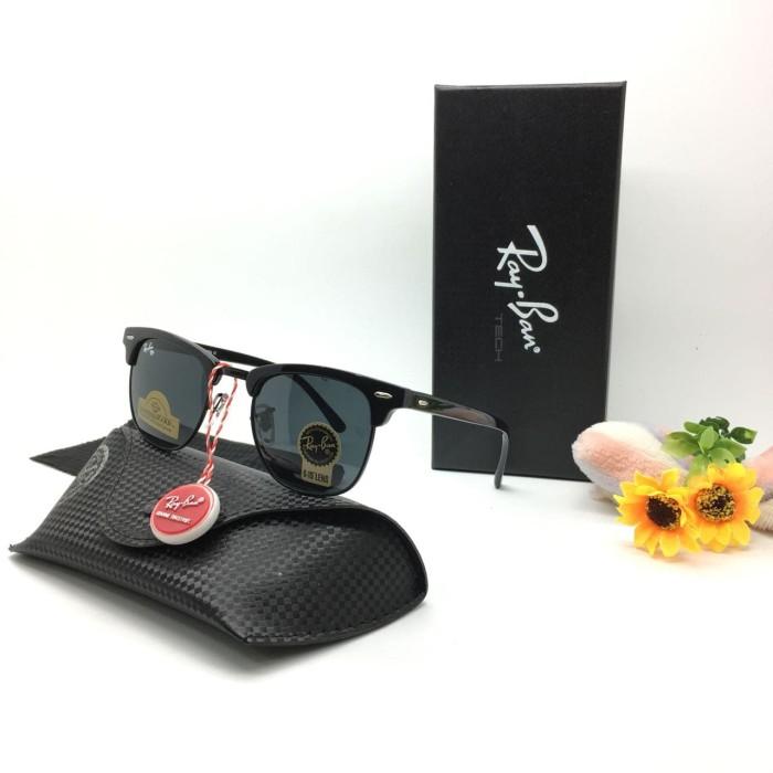 Kacamata RB Clubmaster Lensa Kaca Diamond Hard Sunglasses Pria Wanita -  full hitam 98ad768ab0