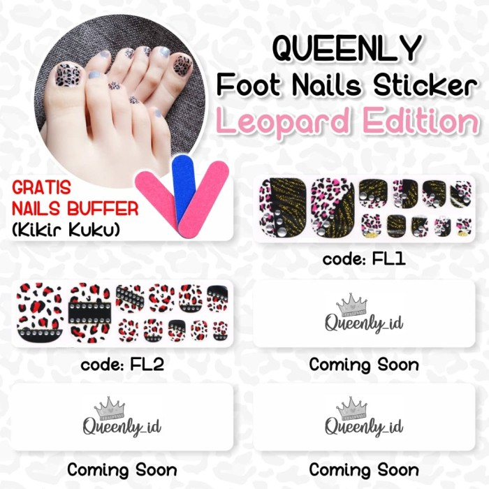 Toe Nail Art Sticker Stiker Kuku Kaki Motif Leopard GRATIS Buffer