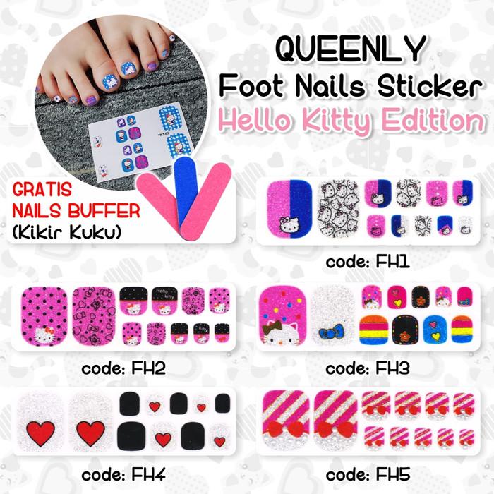 Toe Nail Art Sticker Stiker Kuku Kaki Motif Hello Kitty GRATIS Buffer