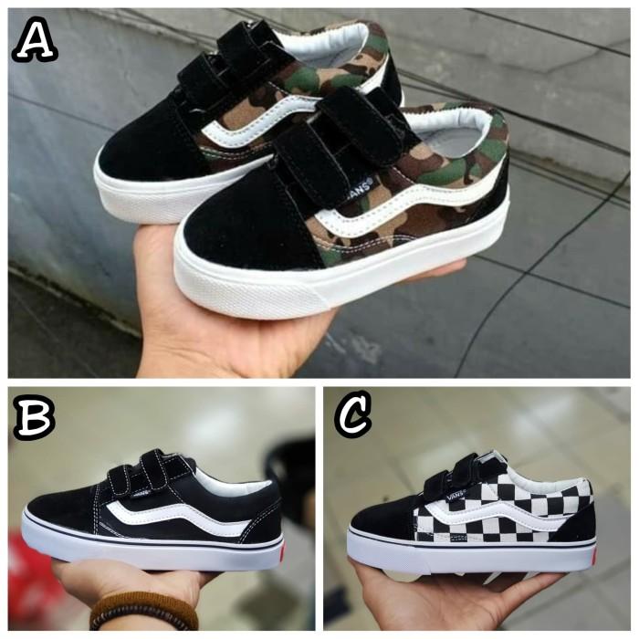 ... Informasi Harga Sepatu Anak Vans Old Skool Kids Perekat 25 35 Army  CheckboardSpotharga.com 49f435ed68