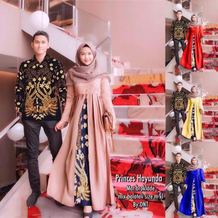 Foto Produk Batik Couple / Batik Sarimbit Gamis Brokat Hayunda New dari anitaolshop