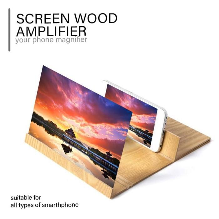 harga Phone screen amplifier with wood grain stand anti-radiation Tokopedia.com