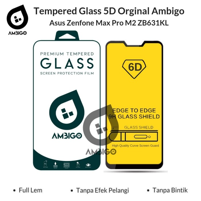 Foto Produk Tempered Glass 6D Asus Zenfone Max Pro M2 (ZB631KL) Full Cover Ambigo - Hitam dari Jagonya Case
