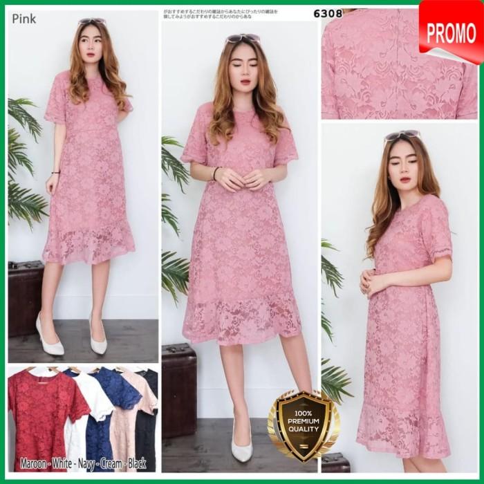 Jual Dress Brokat Wanita Modern Gaun Pesta Mewah Artis Elegant High
