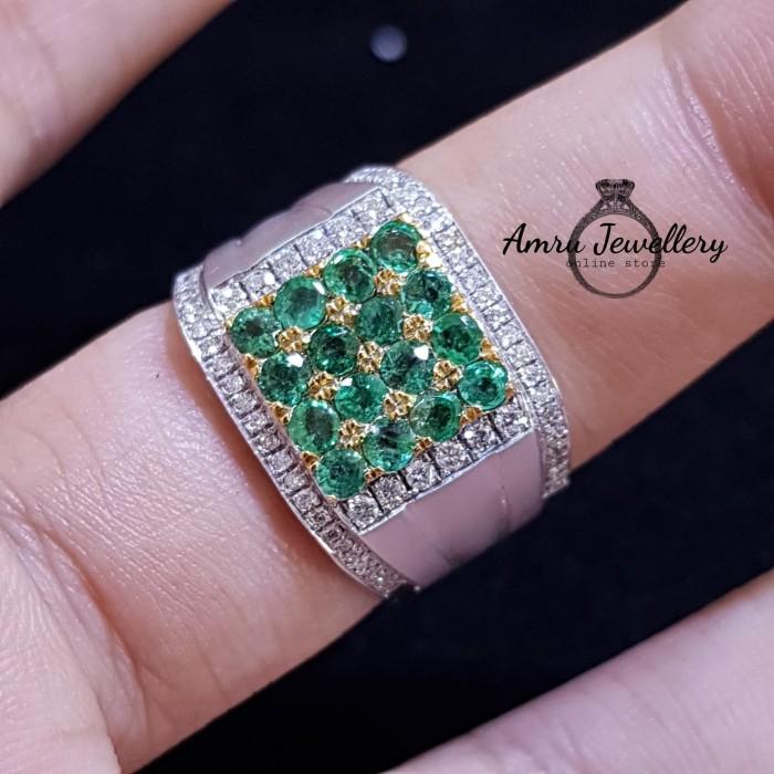 Jual Cincin Perak Berlian Kombinasi Batu Zamrud Laki Laki Kab