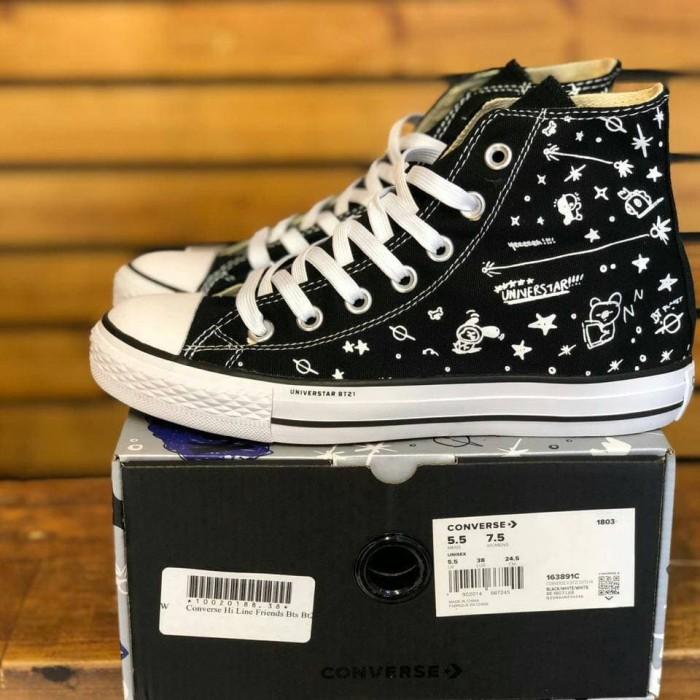 5a9511d7010e Jual Converse BTS BT21 Hi Full Black - Sepatu Wanita sneakers ...