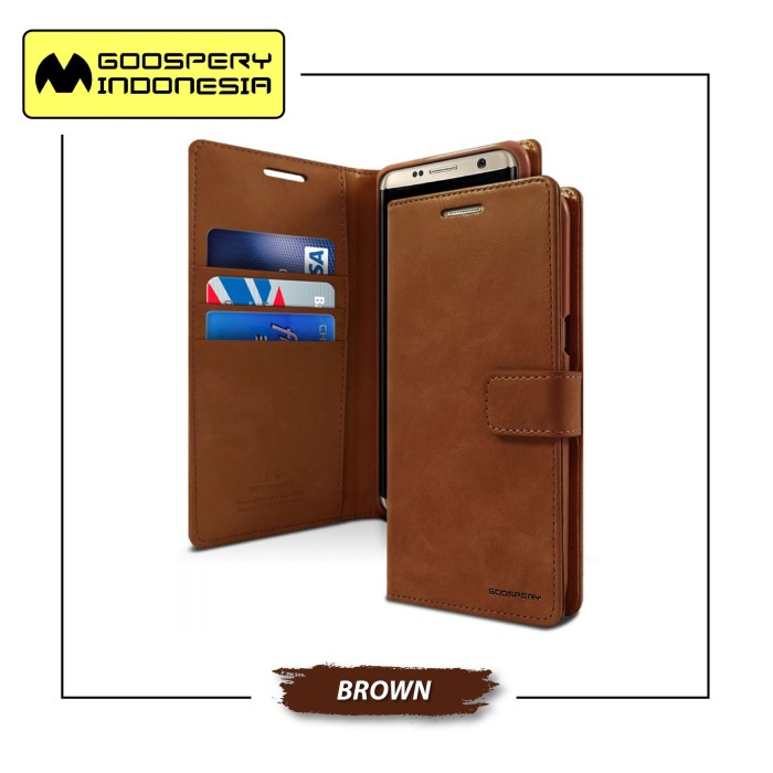 Goospery samsung galaxy note fe / note 7 blue moon diary case - brown