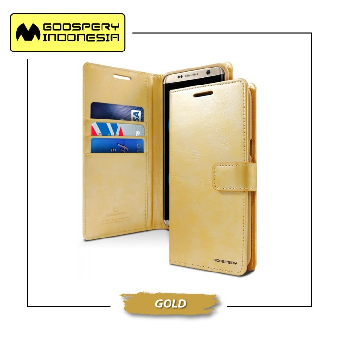 Goospery iphone x blue moon diary case - gold