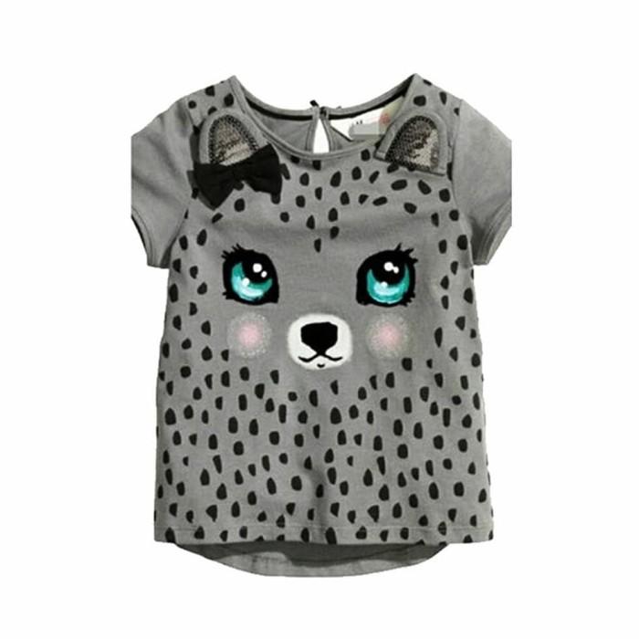 Foto Produk Baju Kaos Anak Perempuan Cute Leopard Gray Zh-Dgp018 dari Franziska