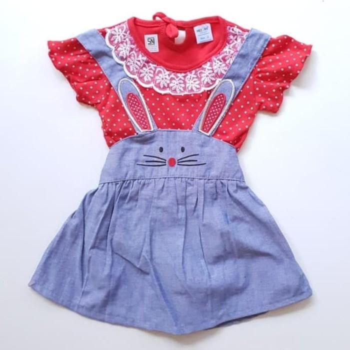 Foto Produk Baju Setelan Anak Perempuan Kaos Dot Dress Katun Denim Overall Kelinci dari Franziska
