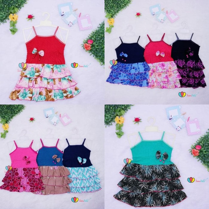 Foto Produk Dress Valerie Uk 3-4 Th Dress Anak Perempuan Murah Tanktop Baju Anak dari Franziska