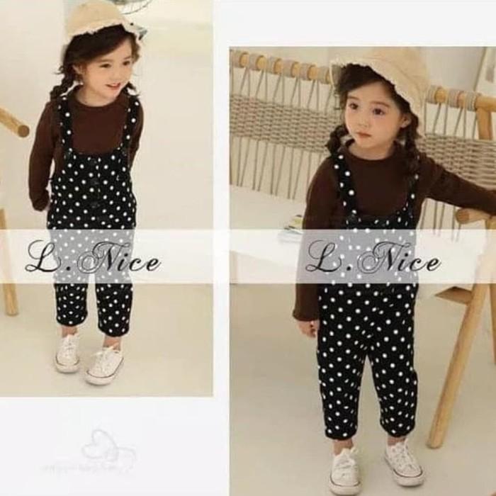 Foto Produk Baju Setelan Anak Perempuan Import Lnice Kaos Coklat Overall Polkadot dari Franziska