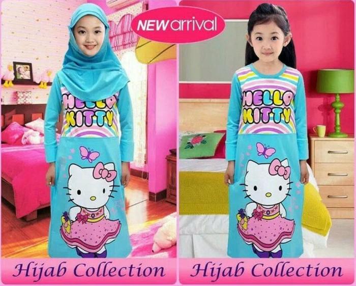 Foto Produk Baju Muslim Little Pineapple Hello Kitty Blue Uk 3-8 Thn dari Franziska