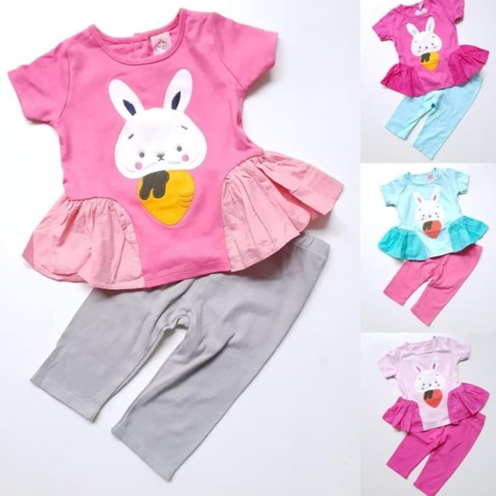 Foto Produk Baju Setelan Anak Bayi Perempuan Kaos Kelinci Wortel Celana Legging dari Franziska