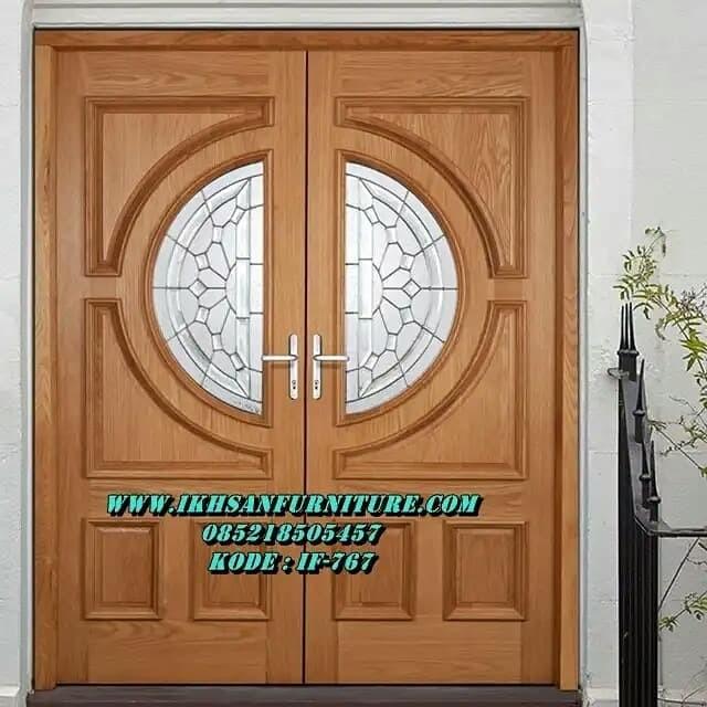 Jual Daun Pintu Rumah Kupu Tarung Minimalis Modern Kaca Motif Patri Kab Jepara Ikhsan Furniture Tokopedia