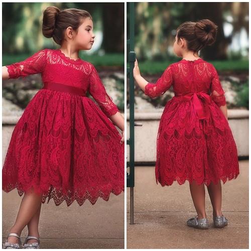 Jual C88432 Red Gaun Pesta Anak Cewek Cantik Elegan Tokogue8