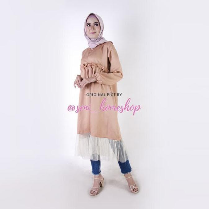 Foto Produk Tunik Busui / Baju Kancing Depan / Blus Muslim Murah : Syara Longtunik dari Lolitta Living