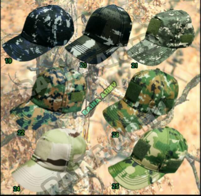 Topi army velcro topi tactical bdu loreng dan polos TNI ad TNI au ad7e120a21