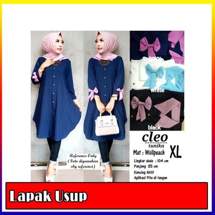 Baju Atasan Wanita Tunik Baju Muslim Blus Muslim Cleo Tunika - Navy-