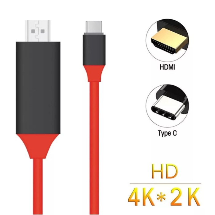USB-C Type C USB 3.1 Male to HDMI 4k 2k 1080P HDTV Adapter Cable for Macbook Pro