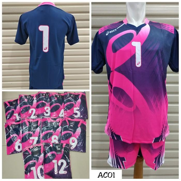 Setelan baju voli   volley asics ac01 +nomor ( kaos   celana) ... da1419ed92